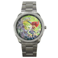 Woodpecker At Forest Pecking Tree, Patagonia, Argentina Sport Metal Watch by dflcprints