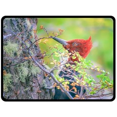 Woodpecker At Forest Pecking Tree, Patagonia, Argentina Fleece Blanket (large)  by dflcprints