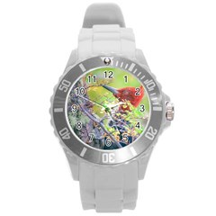 Woodpecker At Forest Pecking Tree, Patagonia, Argentina Round Plastic Sport Watch (l) by dflcprints