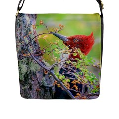 Woodpecker At Forest Pecking Tree, Patagonia, Argentina Flap Messenger Bag (l)  by dflcprints
