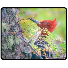 Woodpecker At Forest Pecking Tree, Patagonia, Argentina Double Sided Fleece Blanket (medium)  by dflcprints