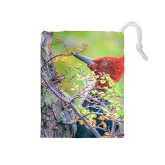 Woodpecker At Forest Pecking Tree, Patagonia, Argentina Drawstring Pouches (medium)  by dflcprints