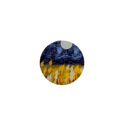 Blue And Gold Landscape With Moon 1  Mini Buttons by theunrulyartist
