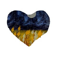 Blue And Gold Landscape With Moon Standard 16  Premium Heart Shape Cushions by theunrulyartist