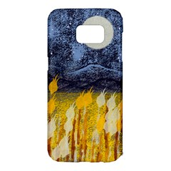 Blue And Gold Landscape With Moon Samsung Galaxy S7 Edge Hardshell Case by theunrulyartist