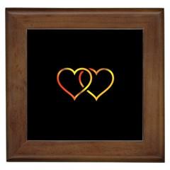 Heart Gold Black Background Love Framed Tiles by Nexatart