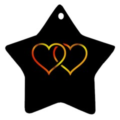 Heart Gold Black Background Love Star Ornament (two Sides) by Nexatart
