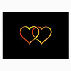 Heart Gold Black Background Love Large Glasses Cloth by Nexatart