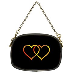 Heart Gold Black Background Love Chain Purses (one Side)  by Nexatart