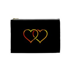 Heart Gold Black Background Love Cosmetic Bag (medium)  by Nexatart