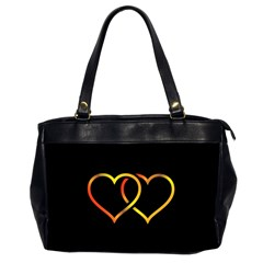 Heart Gold Black Background Love Office Handbags (2 Sides)  by Nexatart