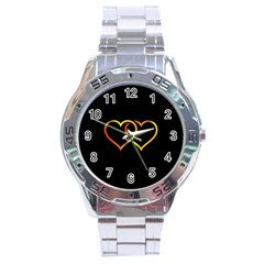 Heart Gold Black Background Love Stainless Steel Analogue Watch by Nexatart