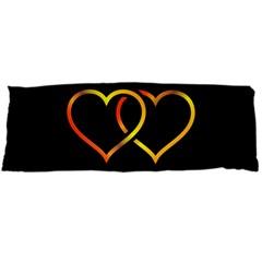 Heart Gold Black Background Love Body Pillow Case (dakimakura)