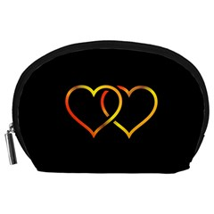 Heart Gold Black Background Love Accessory Pouches (large)  by Nexatart