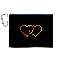 Heart Gold Black Background Love Canvas Cosmetic Bag (xl)