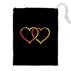 Heart Gold Black Background Love Drawstring Pouches (xxl) by Nexatart