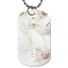 Orchids Flowers White Background Dog Tag (two Sides)