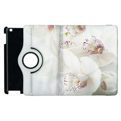 Orchids Flowers White Background Apple Ipad 2 Flip 360 Case by Nexatart