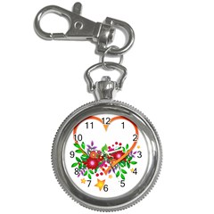 Heart Flowers Sign Key Chain Watches by Nexatart