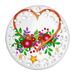 Heart Flowers Sign Round Filigree Ornament (two Sides) by Nexatart