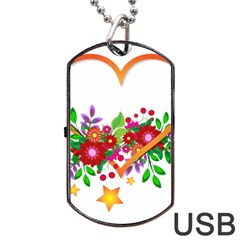 Heart Flowers Sign Dog Tag Usb Flash (two Sides) by Nexatart