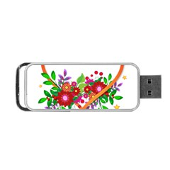 Heart Flowers Sign Portable Usb Flash (two Sides) by Nexatart