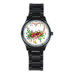 Heart Flowers Sign Stainless Steel Round Watch by Nexatart
