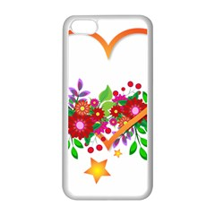 Heart Flowers Sign Apple Iphone 5c Seamless Case (white) by Nexatart