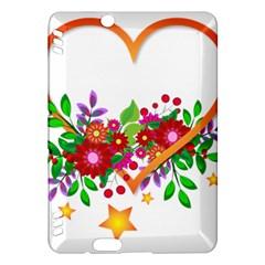 Heart Flowers Sign Kindle Fire Hdx Hardshell Case by Nexatart