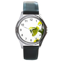 Leaves Nature Round Metal Watch by Nexatart