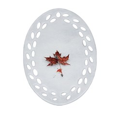 Winter Maple Minimalist Simple Oval Filigree Ornament (two Sides) by Nexatart