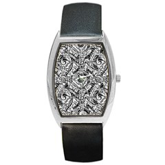 Gray Scale Pattern Tile Design Barrel Style Metal Watch by Nexatart