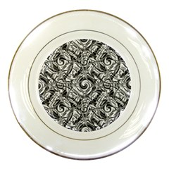 Gray Scale Pattern Tile Design Porcelain Plates by Nexatart