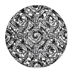 Gray Scale Pattern Tile Design Round Filigree Ornament (two Sides) by Nexatart