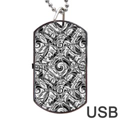 Gray Scale Pattern Tile Design Dog Tag Usb Flash (two Sides) by Nexatart
