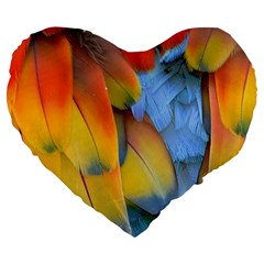 Spring Parrot Parrot Feathers Ara Large 19  Premium Heart Shape Cushions by Nexatart
