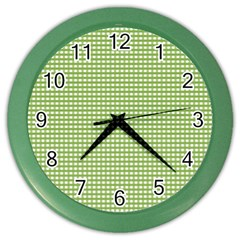 Gingham Check Plaid Fabric Pattern Color Wall Clocks by Nexatart