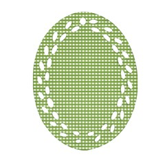 Gingham Check Plaid Fabric Pattern Oval Filigree Ornament (two Sides) by Nexatart
