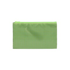 Gingham Check Plaid Fabric Pattern Cosmetic Bag (xs) by Nexatart
