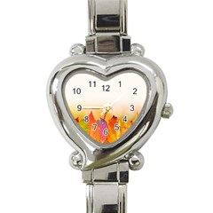 Autumn Leaves Colorful Fall Foliage Heart Italian Charm Watch by Nexatart