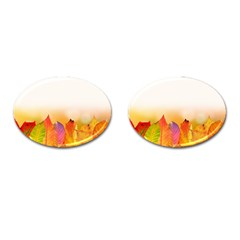 Autumn Leaves Colorful Fall Foliage Cufflinks (oval) by Nexatart