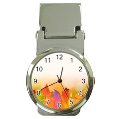 Autumn Leaves Colorful Fall Foliage Money Clip Watches by Nexatart