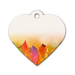 Autumn Leaves Colorful Fall Foliage Dog Tag Heart (two Sides) by Nexatart