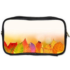 Autumn Leaves Colorful Fall Foliage Toiletries Bags by Nexatart