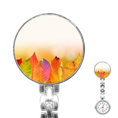 Autumn Leaves Colorful Fall Foliage Stainless Steel Nurses Watch by Nexatart