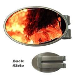 Fire Log Heat Texture Money Clips (oval)  by Nexatart