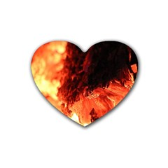 Fire Log Heat Texture Rubber Coaster (heart)  by Nexatart