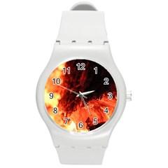 Fire Log Heat Texture Round Plastic Sport Watch (m) by Nexatart