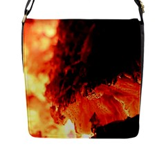 Fire Log Heat Texture Flap Messenger Bag (l)  by Nexatart