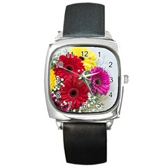 Flowers Gerbera Floral Spring Square Metal Watch by Nexatart